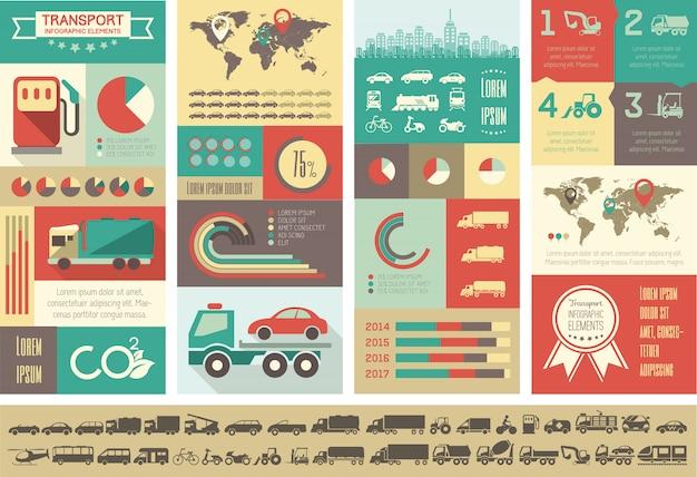 Modello di trasporto infografica. Vettore Premium