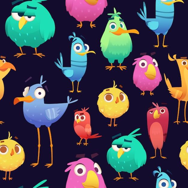 Modello di uccelli arrabbiati. gioco pappagalli e bambini esotici simpatici e divertenti uccelli colorati. illustrazioni senza giunte del fumetto Vettore Premium
