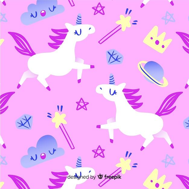 Modello di unicorno disegnato a mano Vettore gratuito