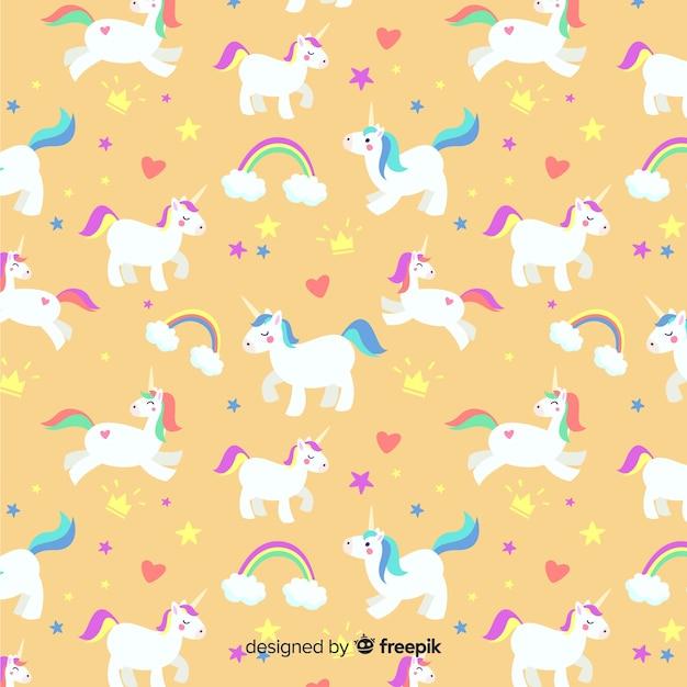 Modello di unicorno piatto Vettore gratuito