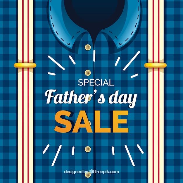Modello di vendita del giorno del papà con camicia e bretelle Vettore gratuito
