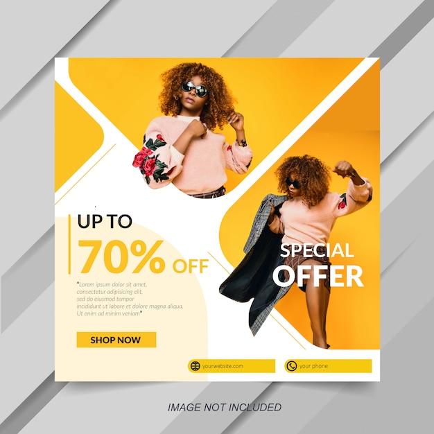 Modello di vendita di moda per post di social media Vettore Premium