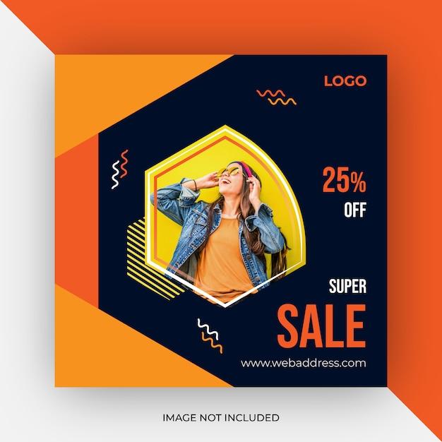Modello di vendita post social media Vettore Premium