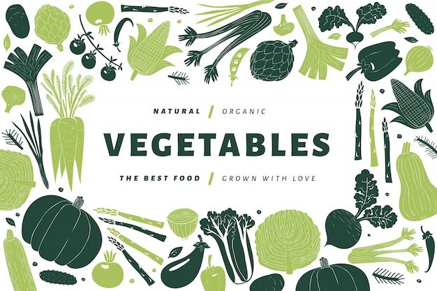Modello di verdure disegnate a mano del fumetto. Vettore Premium