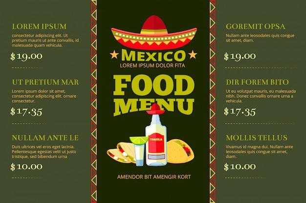 Modello di vettore del menu del ristorante dell'alimento di cucina messicana Vettore Premium