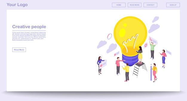 Modello di vettore della pagina web di lavoro di squadra con illustrazione isometrica Vettore Premium