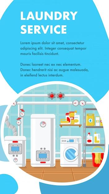 Modello di vettore di banner sito web servizio di lavanderia. Vettore Premium