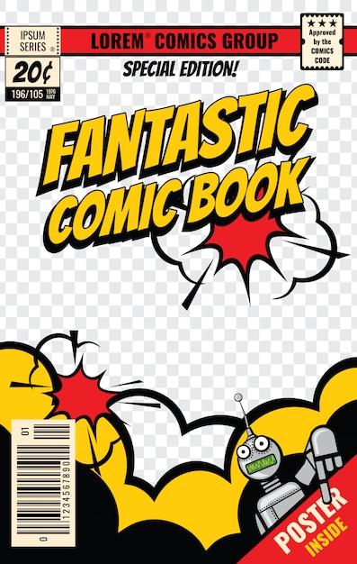 Modello di vettore di copertina di fumetti. poster di fumetti, illustrazione della pagina rivista modificabile Vettore Premium
