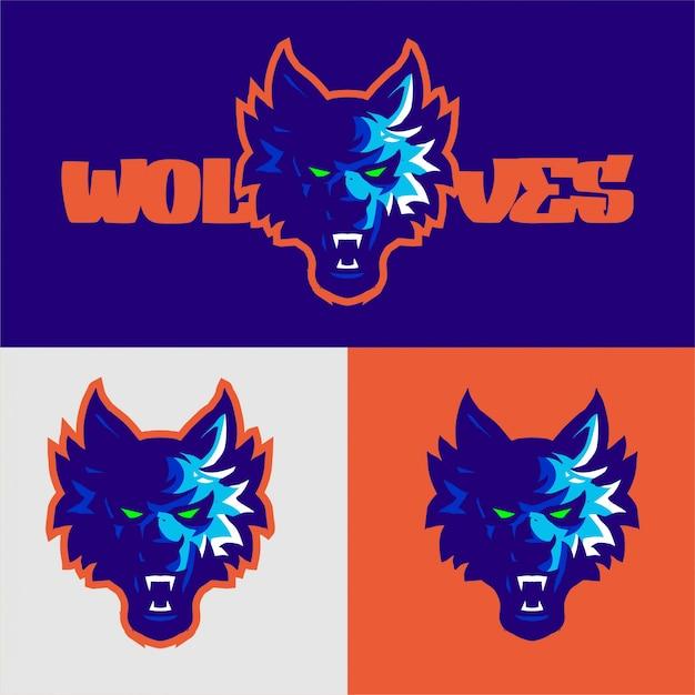 Modello di vettore di gioco di logo della mascotte dei lupi blu-chiaro Vettore Premium