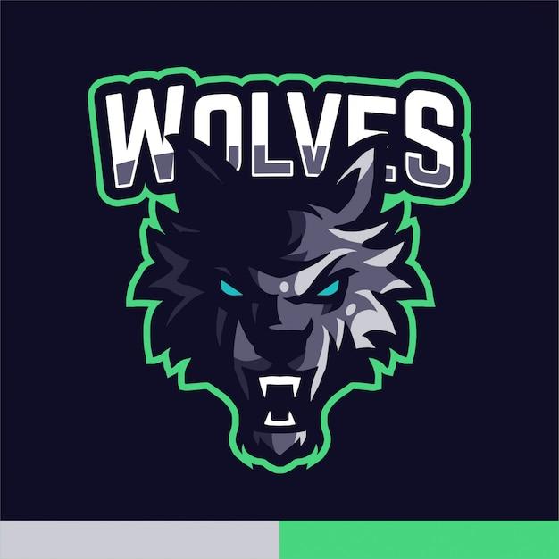 Modello di vettore di gioco di logo della mascotte dei lupi Vettore Premium