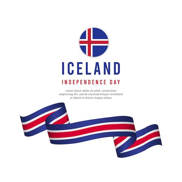 Modello di vettore di giorno di indipendenza dell'islanda. Vettore Premium