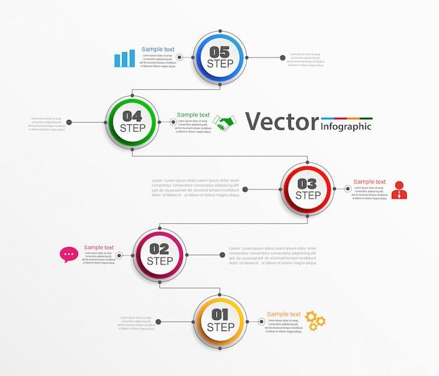 Modello di vettore di infografica con passaggi Vettore Premium