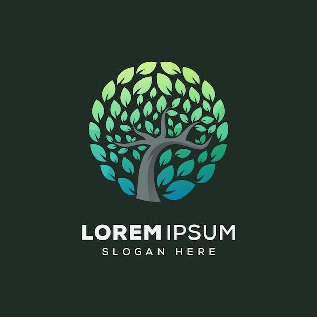 Modello di vettore di logo della natura dell'albero del cerchio Vettore Premium