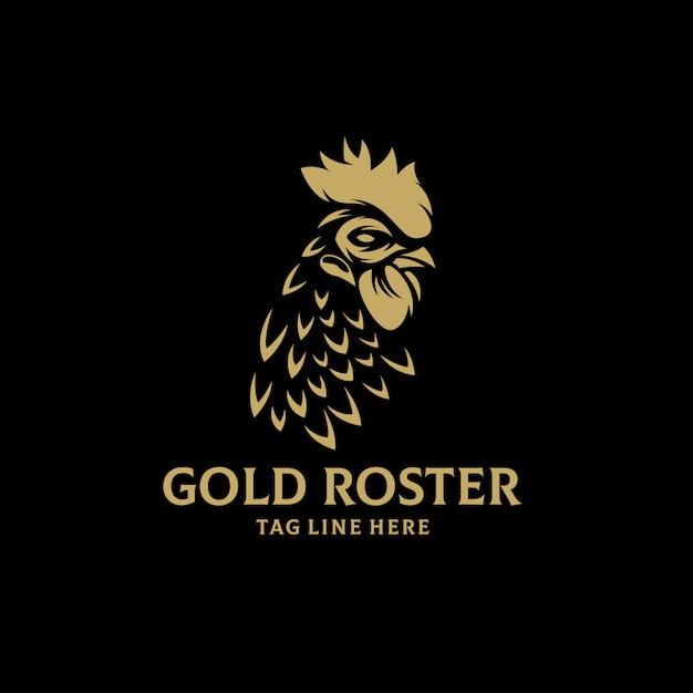 Modello di vettore di logo roster oro Vettore Premium