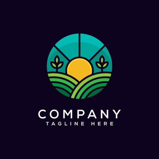 Modello di vettore di progettazione di logo di agricoltura Vettore Premium