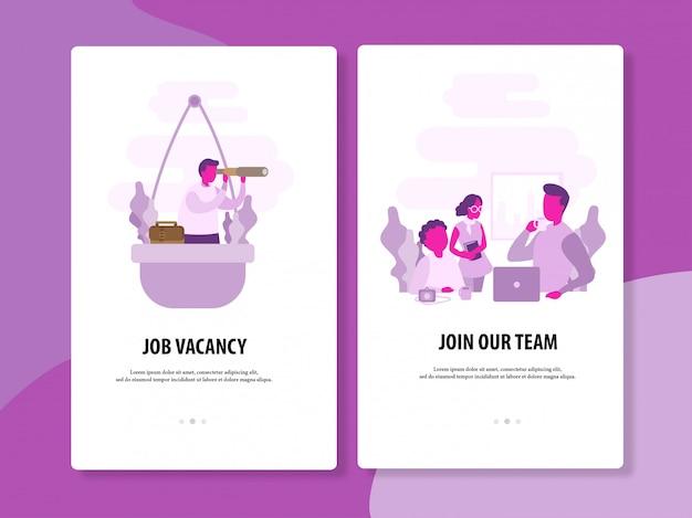 Modello di vettore di ricerca e di reclutamento di lavoro Vettore Premium