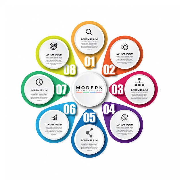 Modello di vettore infographic moderno colorato Vettore Premium