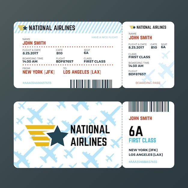 Modello di vettore isolato biglietto di passaggio di imbarco di volo dell'aeroplano Vettore Premium