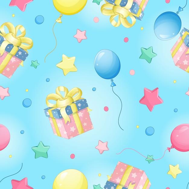 Modello di vettore senza soluzione di continuità per il compleanno. confezione regalo, palloncino, stella Vettore Premium