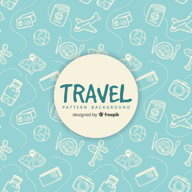 Modello di viaggio con elementi e linee tratteggiate Vettore gratuito