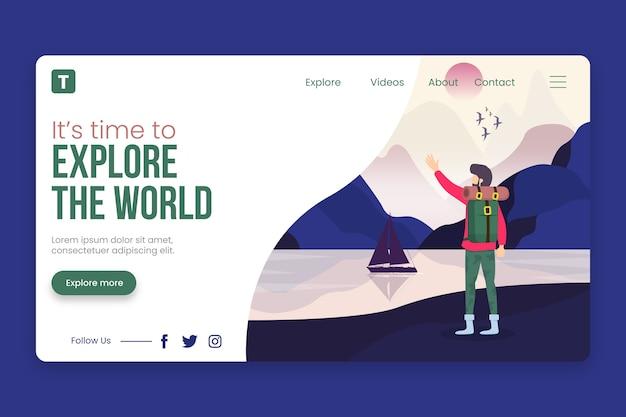 Modello di viaggio della pagina di destinazione Vettore gratuito