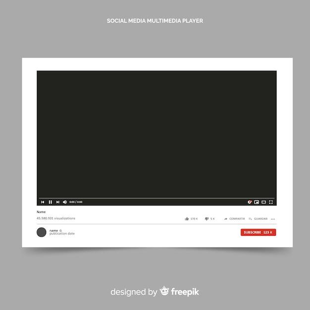 Modello di video player di youtube vettorializzato Vettore gratuito