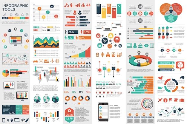 Modello di visualizzazione dati elementi infografica Vettore Premium