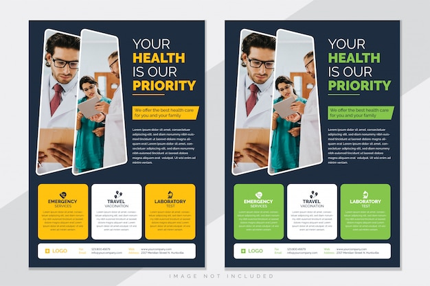 Modello di volantino assistenza sanitaria medica Vettore Premium