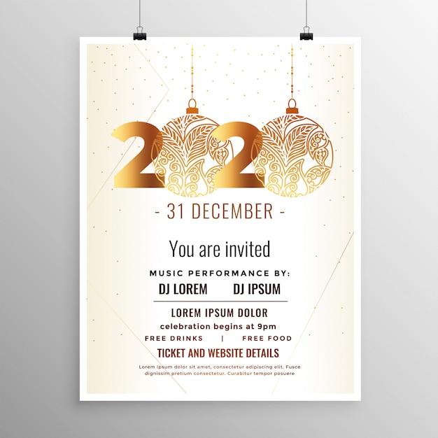 Modello di volantino bianco e oro nuovo anno 2020 Vettore gratuito