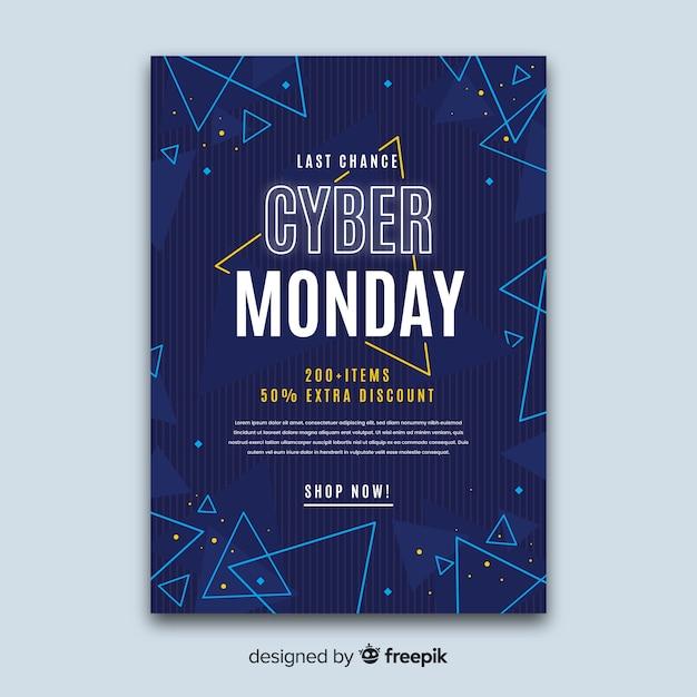 Modello di volantino cyber lunedì design piatto Vettore gratuito