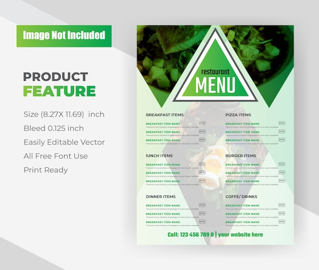 Modello di volantino del menu cibo ristorante. Vettore gratuito