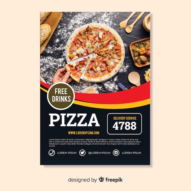 Modello di volantino della pizza fotografica Vettore gratuito