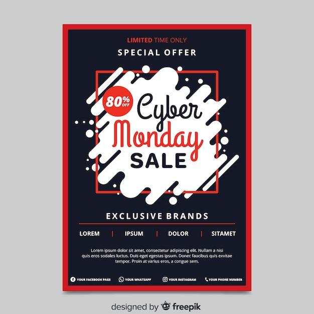 Modello di volantino design piatto cyber lunedì Vettore gratuito
