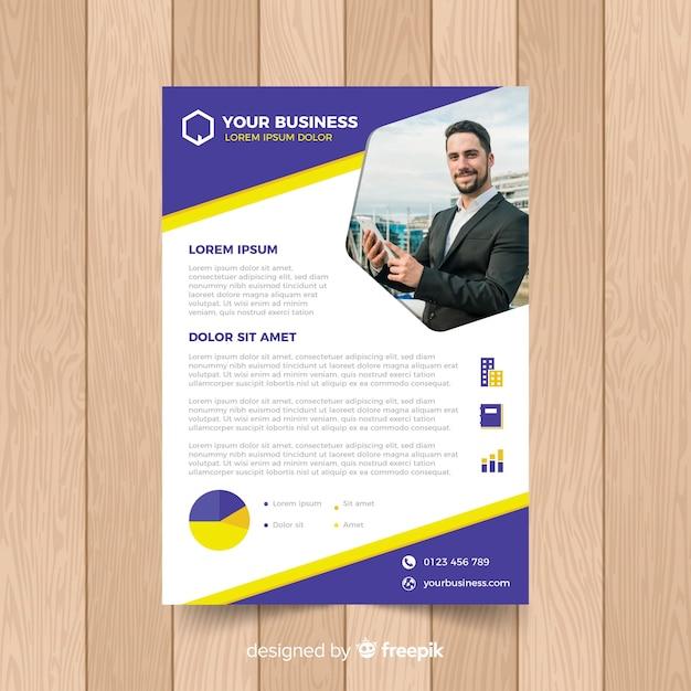 Modello di volantino di affari con foto Vettore gratuito