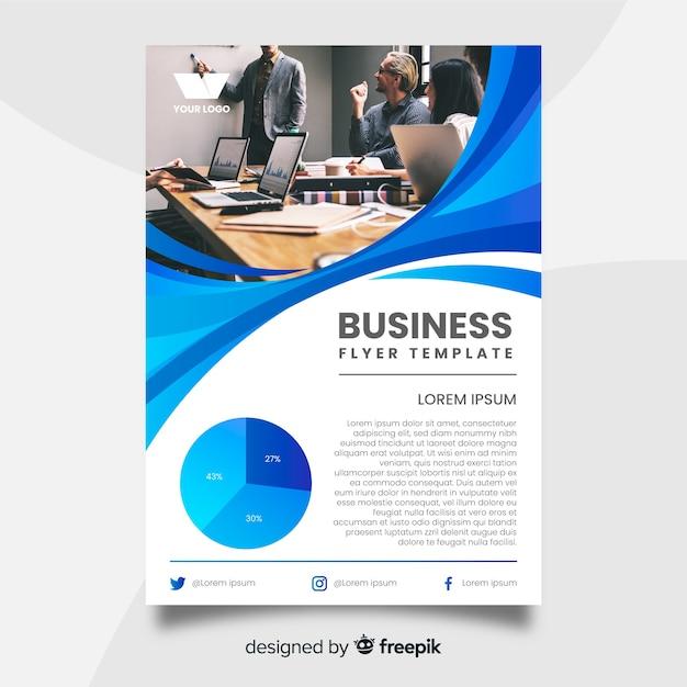 Modello di volantino di affari con l'immagine Vettore gratuito