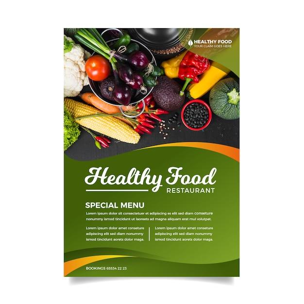 Modello di volantino di cibo sano Vettore gratuito