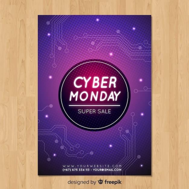 Modello di volantino di cyber lunedì con design piatto Vettore gratuito