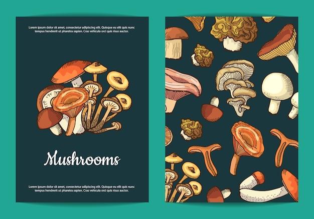 Modello di volantino di funghi per ristorante Vettore Premium