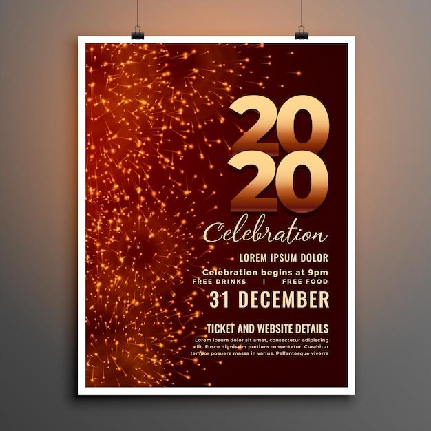 Modello di volantino di stile di fuochi d'artificio di capodanno celebrazione 2020 Vettore gratuito