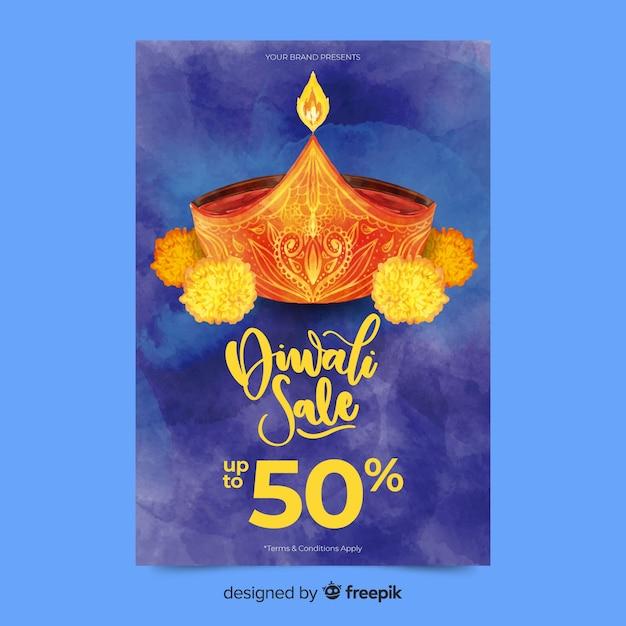 Modello di volantino di vendita di diwali dell'acquerello Vettore gratuito