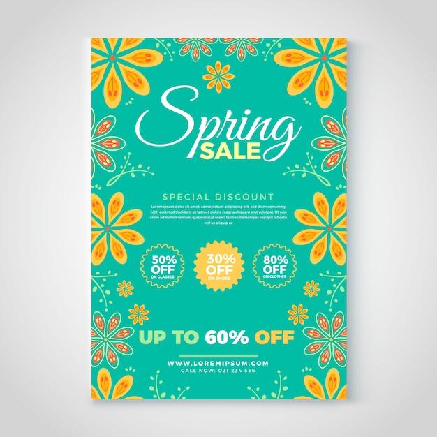Modello di volantino di vendita di primavera con fiori Vettore gratuito