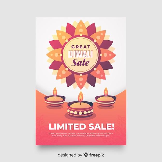 Modello di volantino di vendita piatto diwali Vettore gratuito