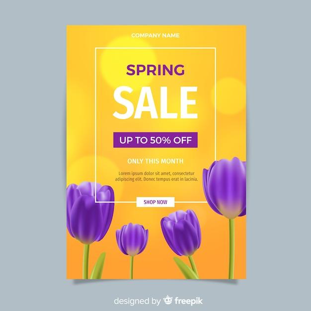 Modello di volantino di vendita primavera realistico Vettore gratuito