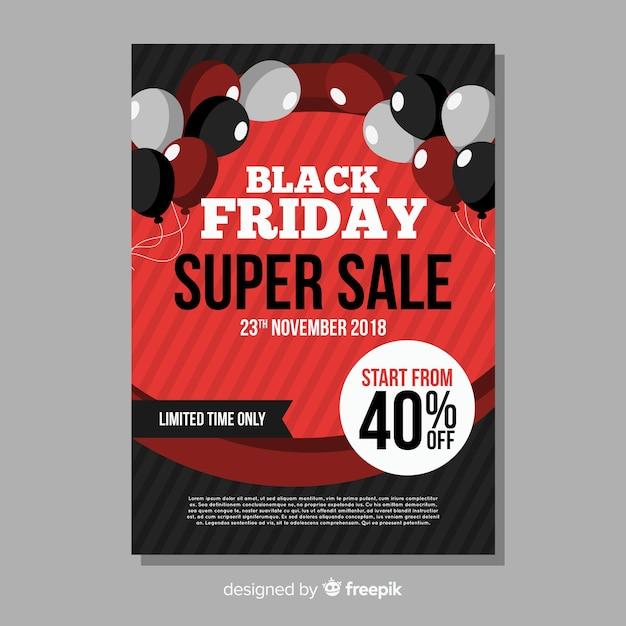 Modello di volantino di vendita venerdì nero con palloncini Vettore gratuito