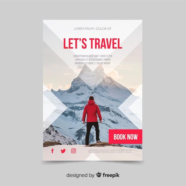 Modello di volantino di viaggio con foto Vettore gratuito