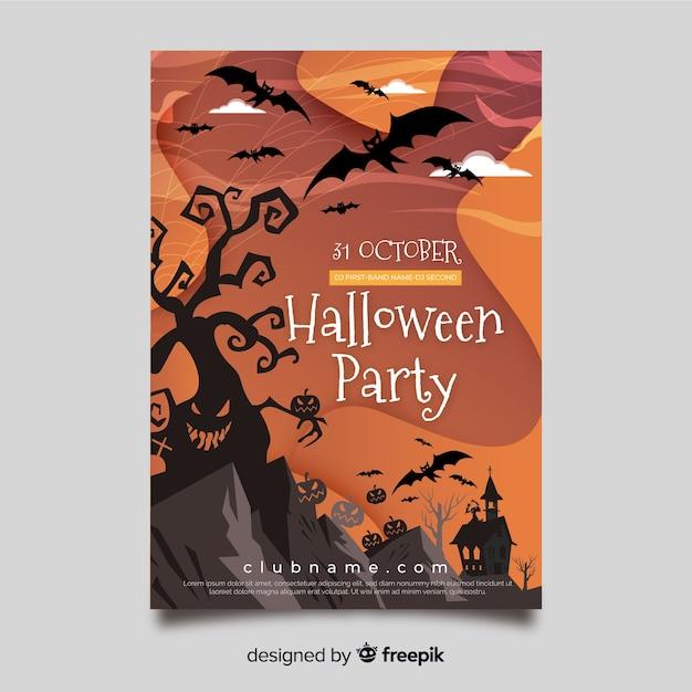 Modello di volantino festa di halloween disegnati a mano Vettore gratuito