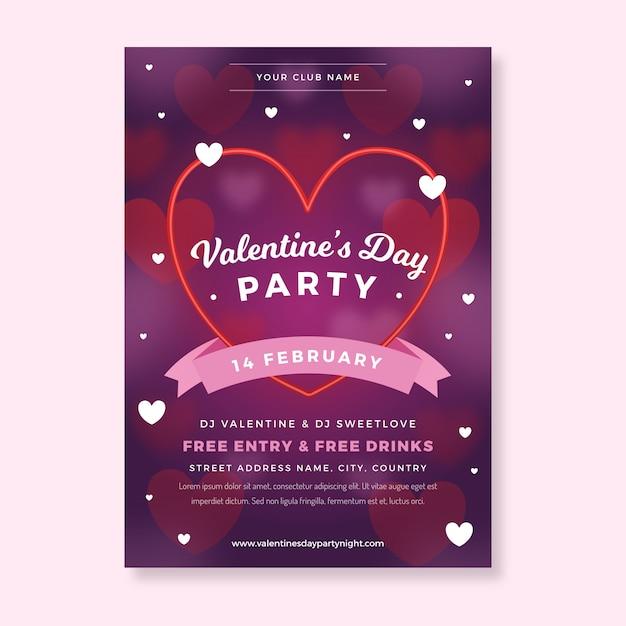 Modello di volantino festa di san valentino in design piatto Vettore gratuito
