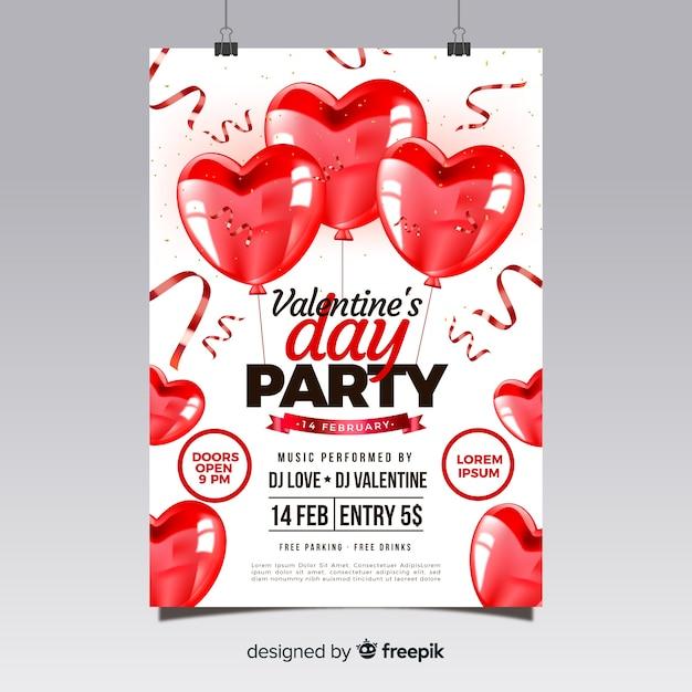 Modello di volantino festa di san valentino realistico Vettore gratuito