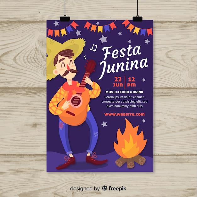 Modello di volantino festa junina disegnato a mano Vettore gratuito