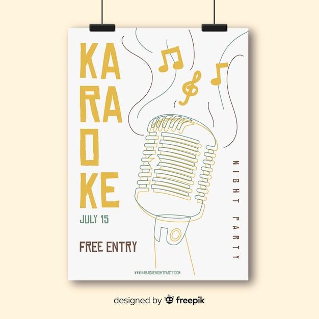 Modello di volantino festa notturna karaoke Vettore gratuito